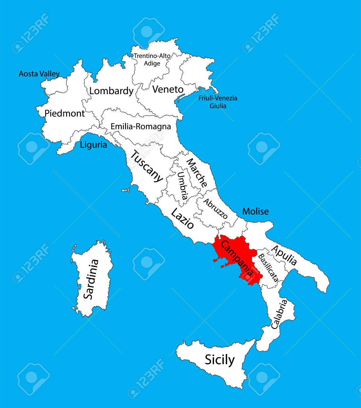 Campania Italy Vector Map Illustration Isolated On Background