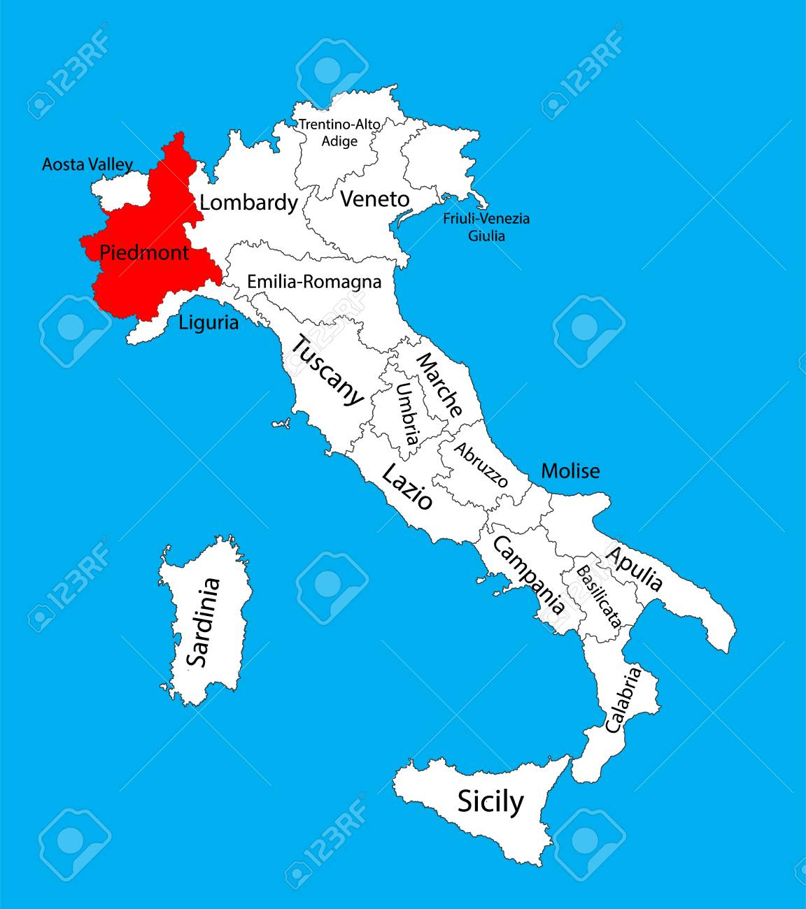 Piedmont Piemonte Italy Vector Map Illustration Isolated On