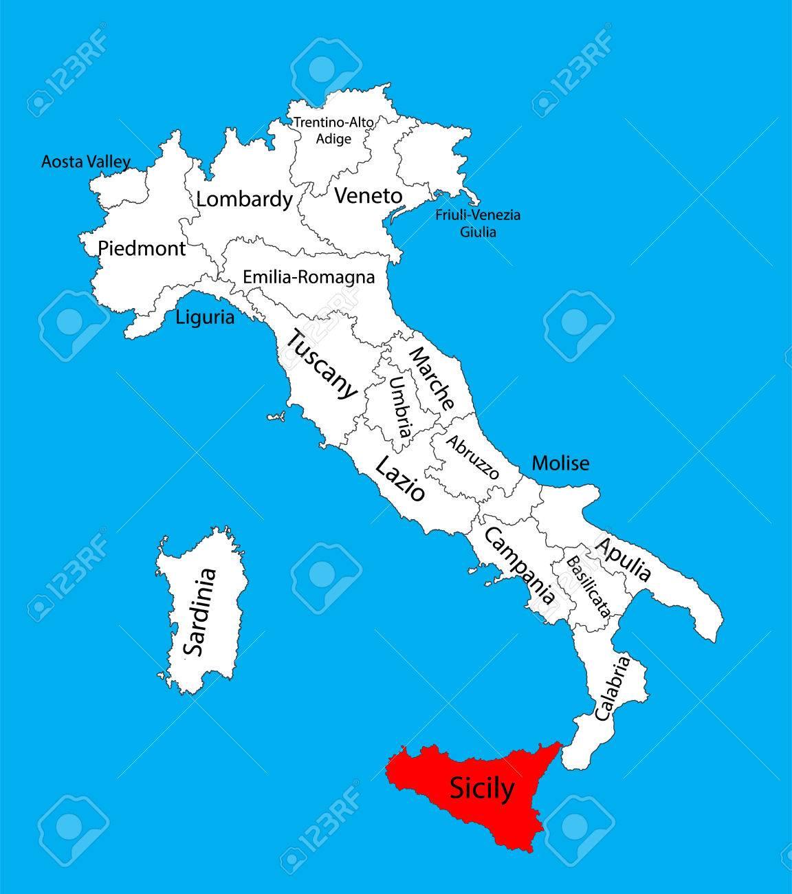 Carte Sicile Italie.Sicile Italie Illustration De Carte Vectorielle Isolee Sur Fond Vecteur De Carte Modifiable De L Italie