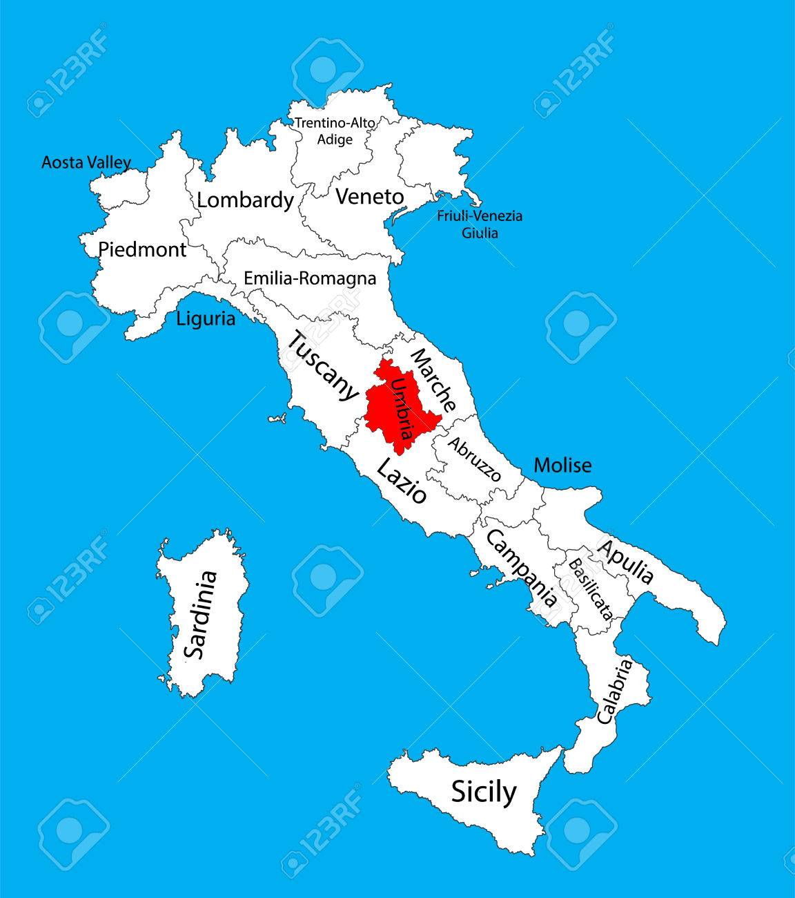 Umbria Italy Map Umbria, Italy, Vector Map Illustration Isolated On Background