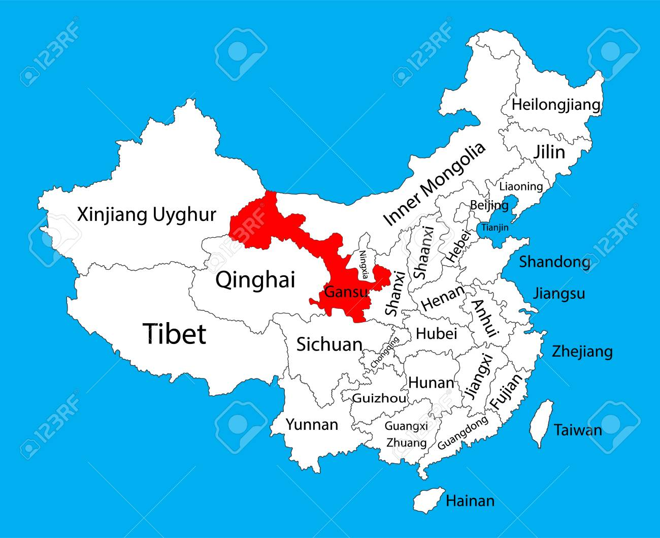 Gansu Province Map, China Vector Map Illustration Isolated On Background.  Editable China Map Vector