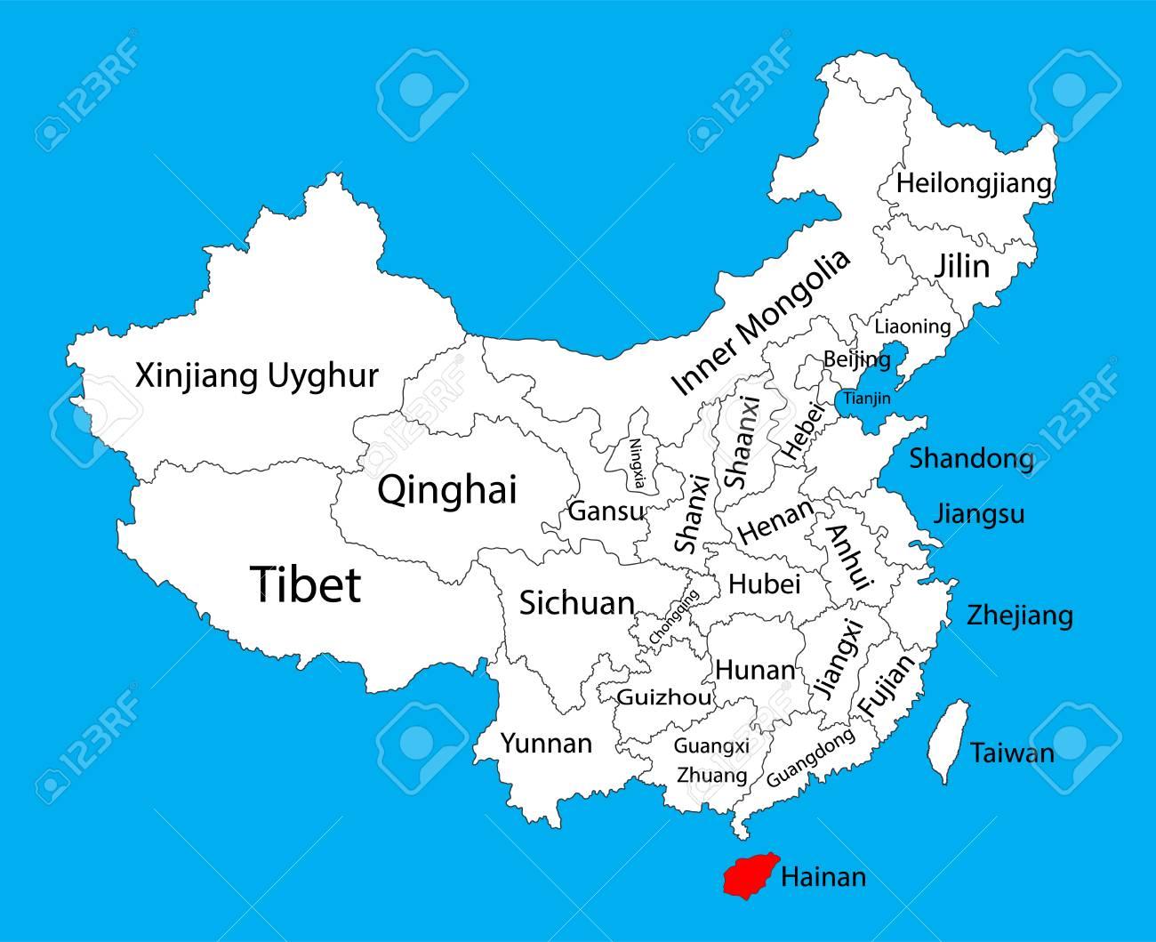 海南省地図、中国ベクトル地図イ...
