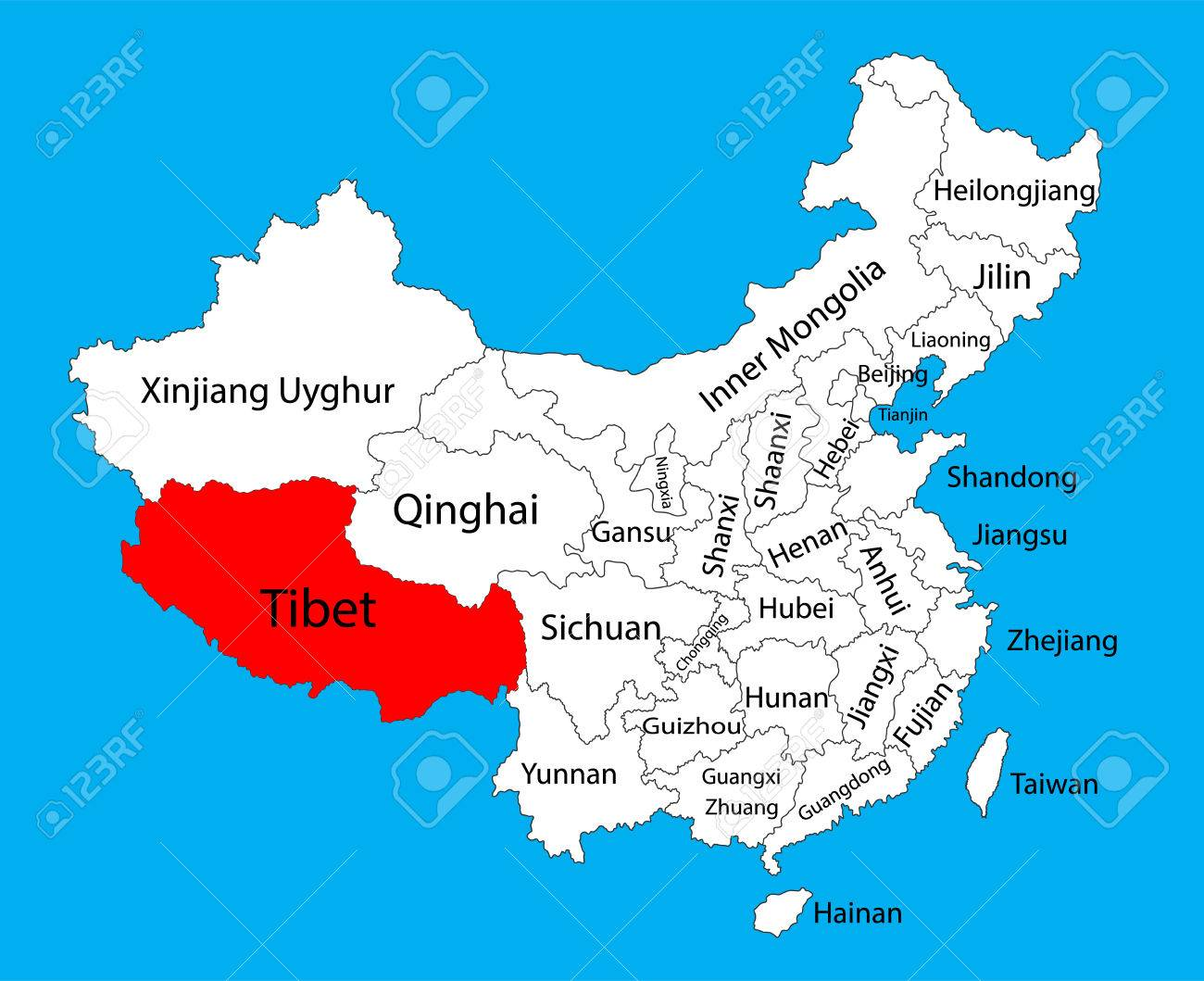 Tibet Province Map China Vector Map Illustration Isolated On