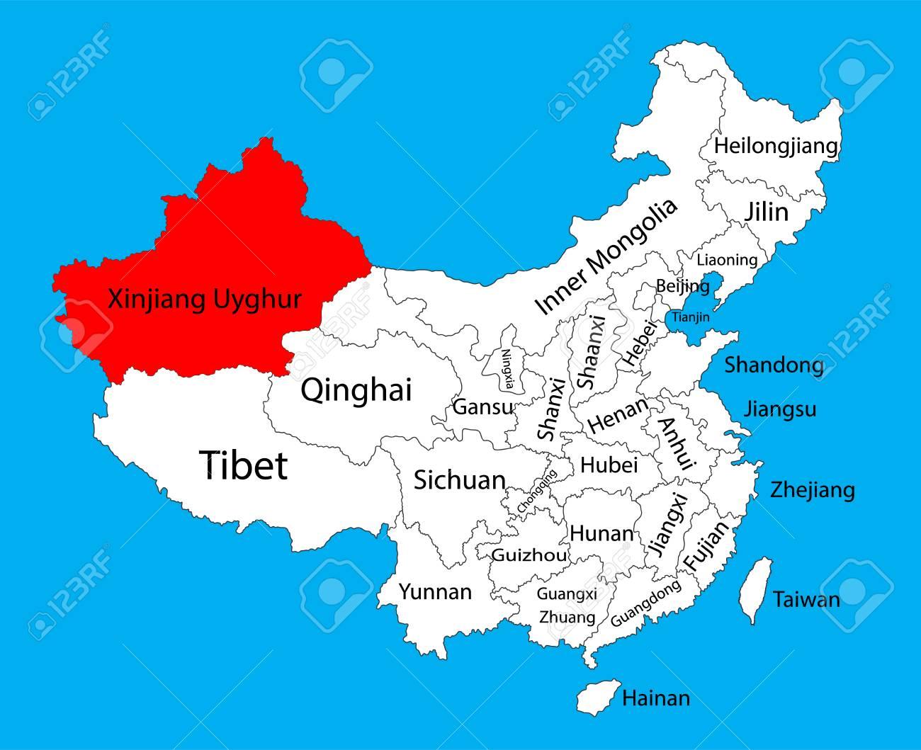 Xinjiang Uyghur Province Map China Vector Map Illustration