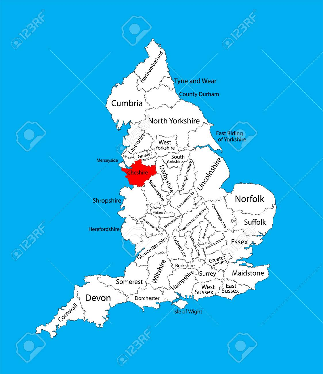Vector Map Of Cheshire In North West England United Kingdom