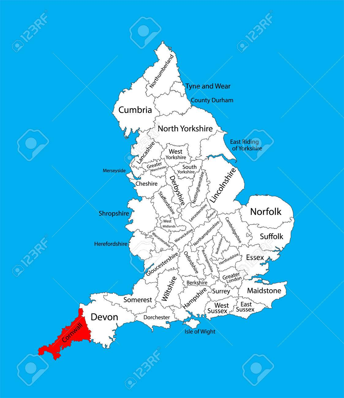 Map Of England Cornwall.Vector Map Of Cornwall In South West England United Kingdom