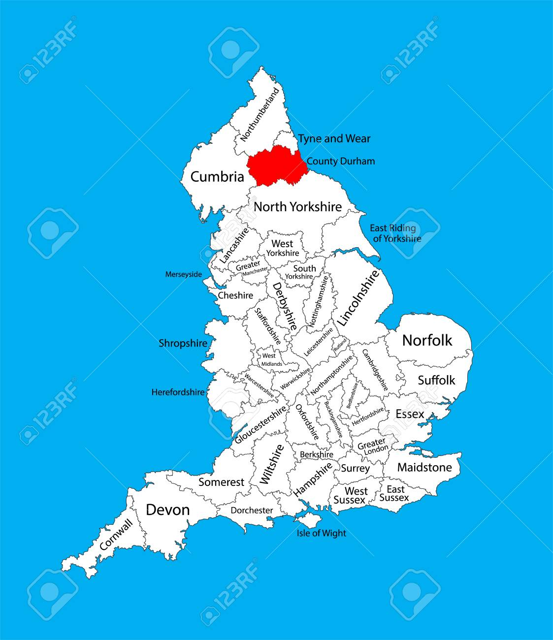 Map Of England Durham.Durham County Map Vector Map Of County Durham In North East