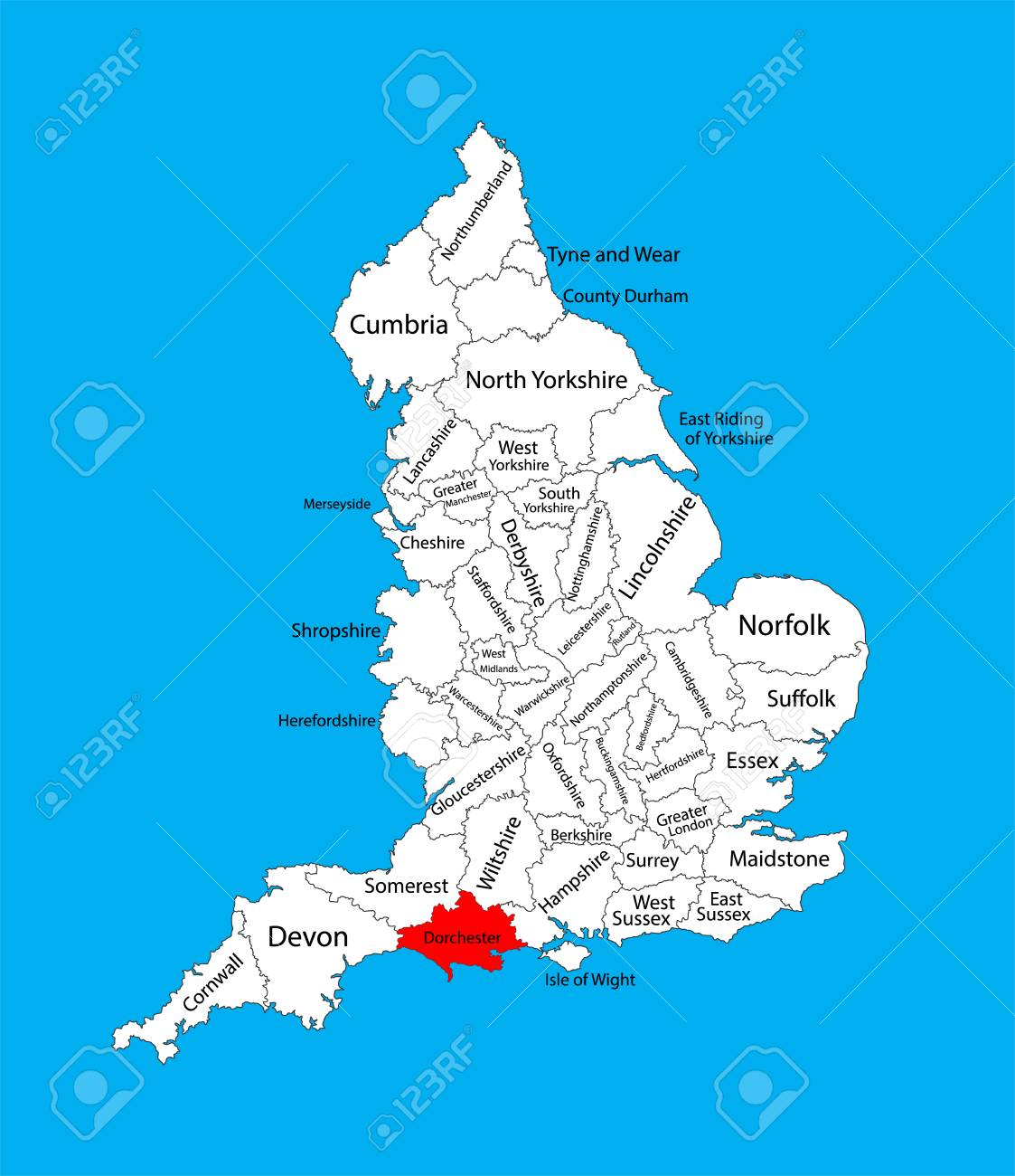 Map Of West Of England.Vector Map Of Dorset In South West England United Kingdom With