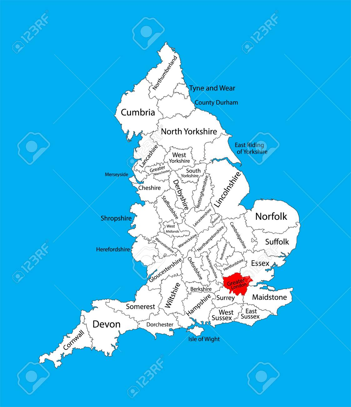 vector vector map of greater london in united kingdom with regions england vector map