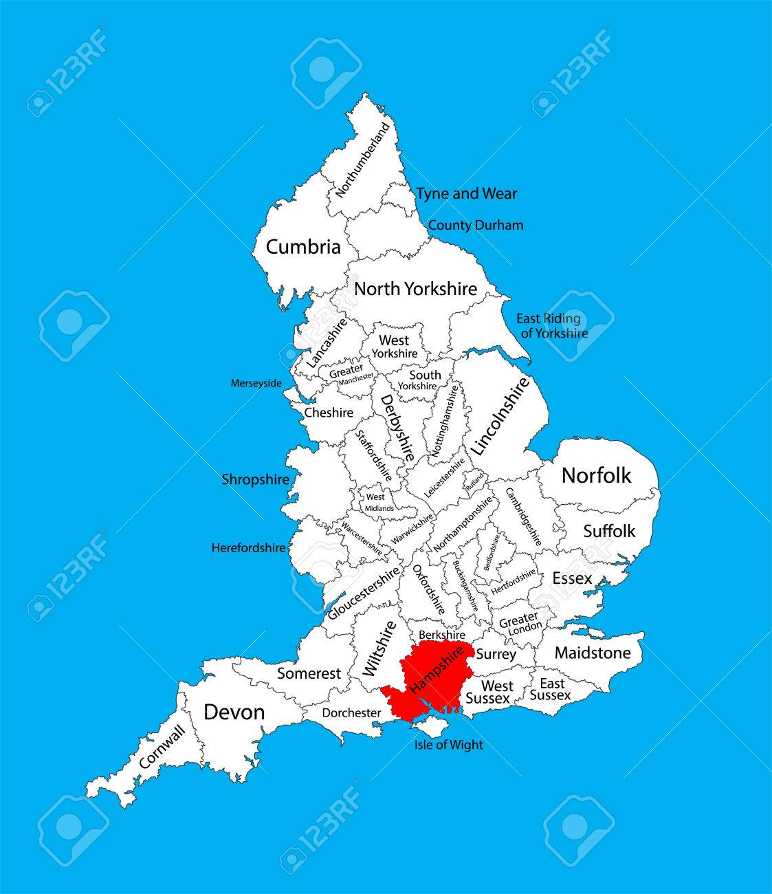 Vector Map Of Hampshire, South East England, United Kingdom With