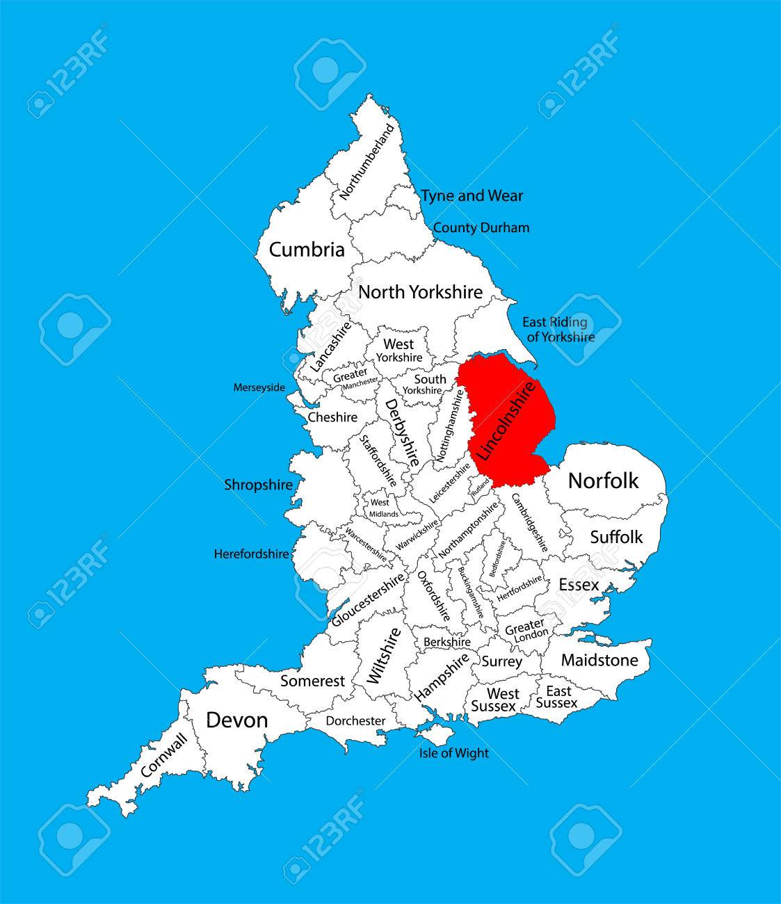 Map Of England Lincolnshire.Vector Map Of Lincolnshire In East Midlands United Kingdom With