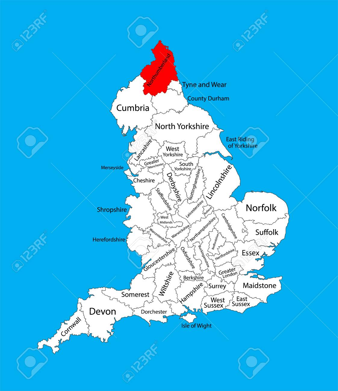 Map Of Uk North East.Northumberland Vector County Map North East England United