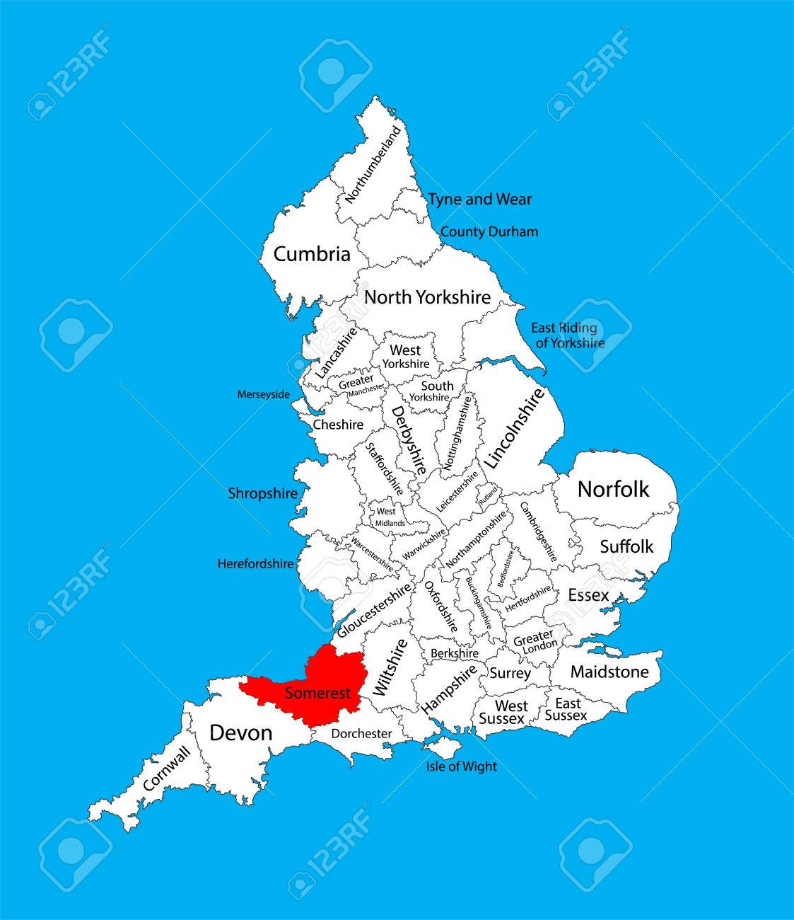 Somerset England Map Vector Map Of Somerset In South West England, United Kingdom