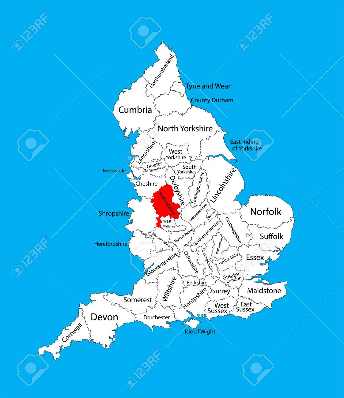 Map Of England Midlands.Vector Map Of Staffordshire In West Midlands United Kingdom