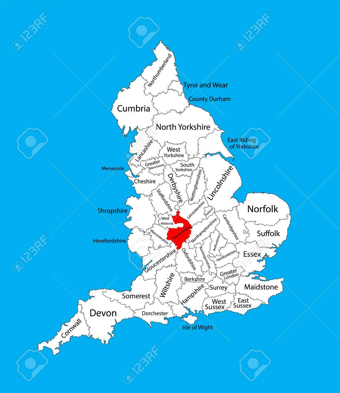 Vector Map Of Warwickshire In West Midlands United Kingdom With