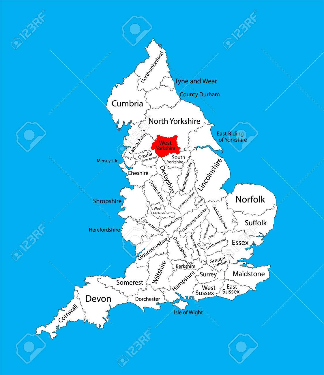 Map Of England Showing Yorkshire.Vector Map Of West Yorkshire In Yorkshire And The Humber United