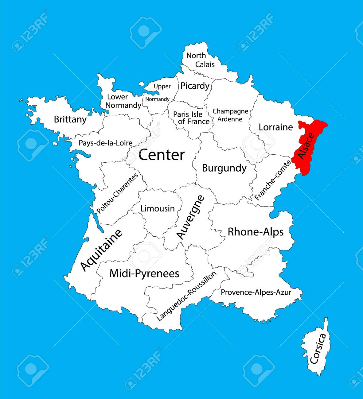 Carte Alsace Vector.Vector Map Of State Alsace France Vector Map Alsace Provence