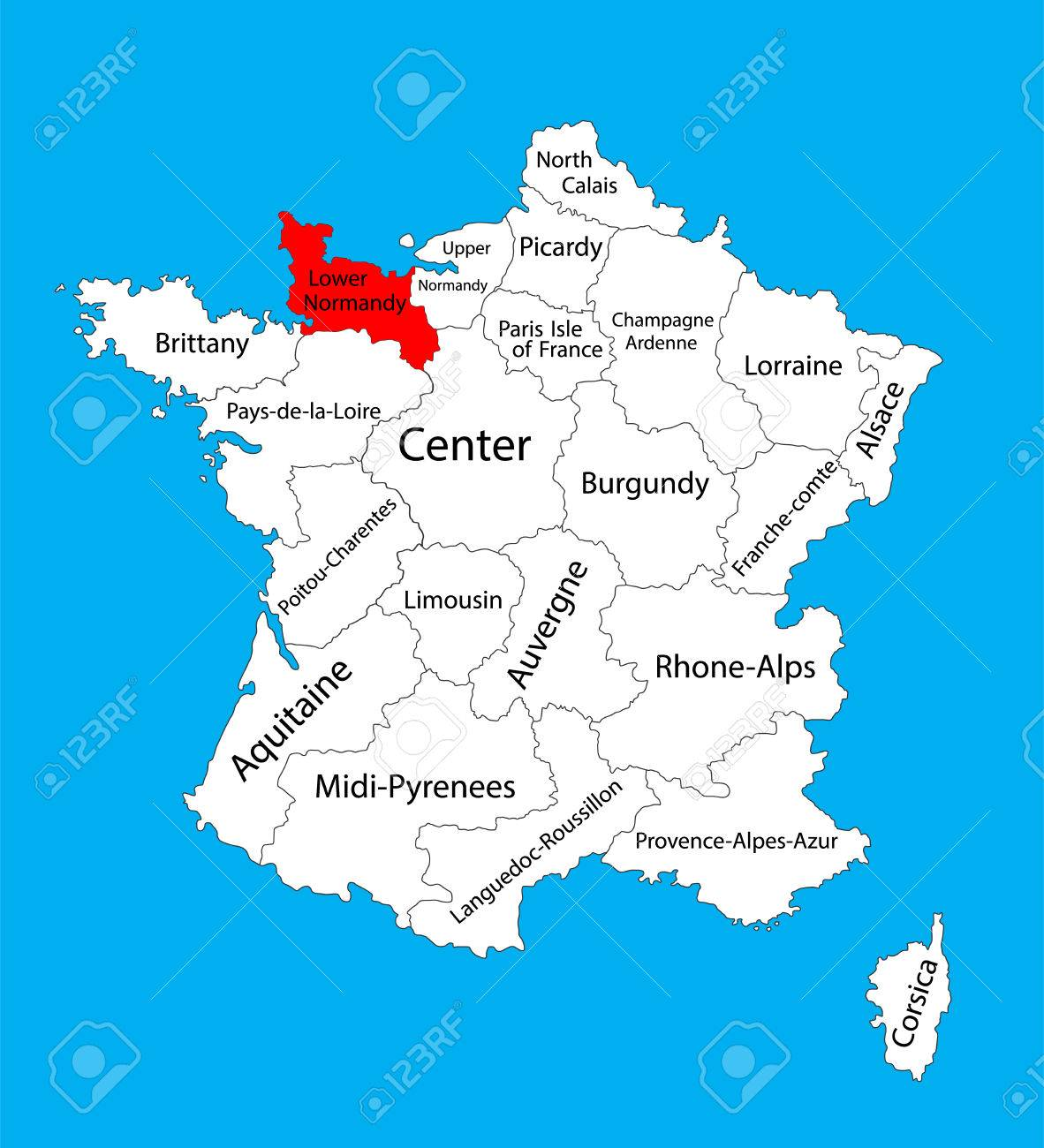 Map Of Normandy France Detailed.Vector Map Of State Lower Normandy Location On France France