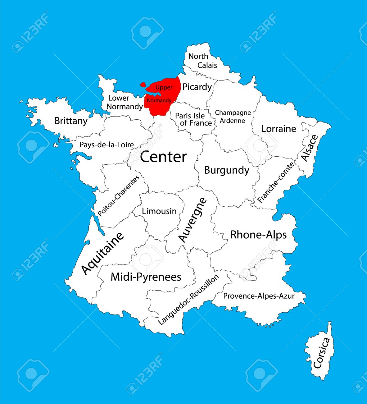 Vector Map Of State Upper Normandy Location On France France