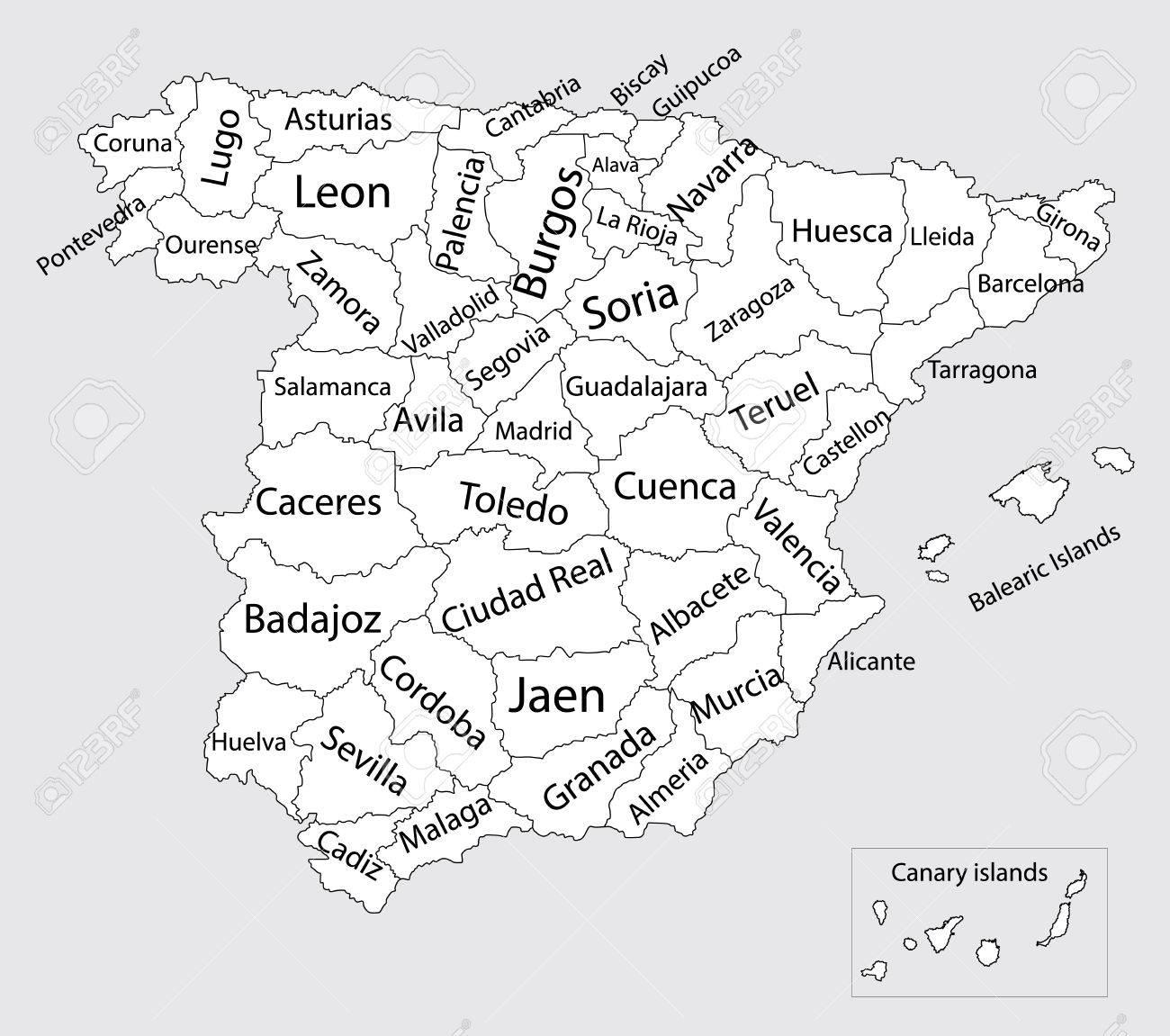 Provincias De España Mapa En Blanco.Mapa Vectorial En Blanco Editable De Espana Mapa Vectorial De Espana Aislado En El Fondo Alto Detallado Comunidades Autonomas De Espana Divisiones