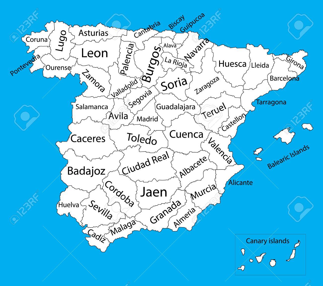 Mapa De Comunidades Autonomas En Blanco.Editable Vector Mapa En Blanco De Espana Vector Mapa De Espana Aislado En El Fondo Muy Detallado Comunidades Autonomas De Espana Divisiones