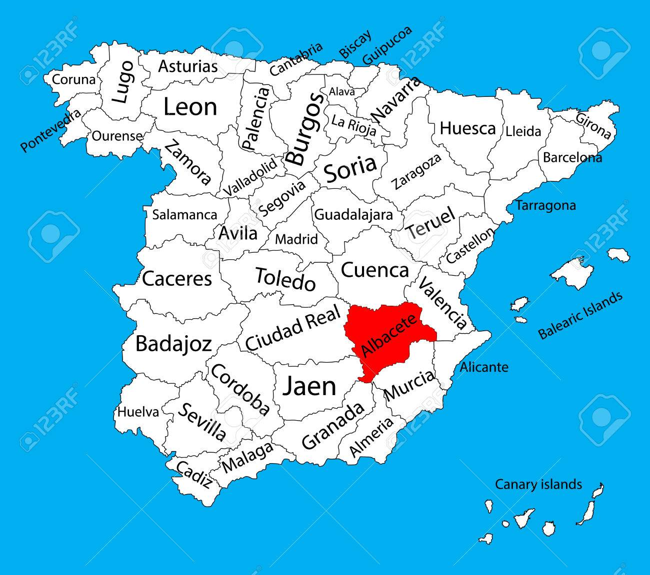 Albacete Map, Spain Province Vector Map. High Detailed Vector