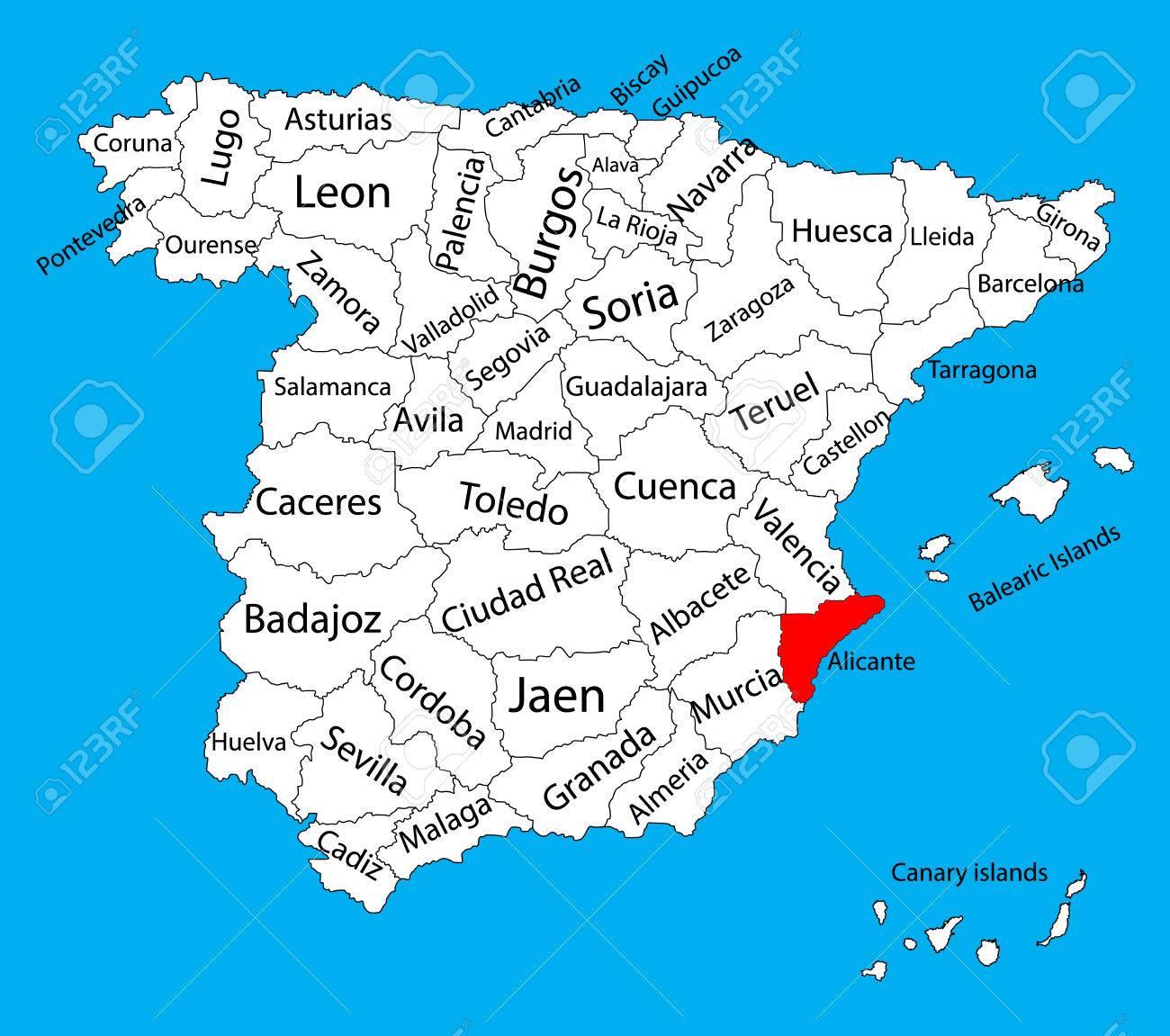 Carte D'Alicante, Espagne Vector Carte De Vecteur. Carte