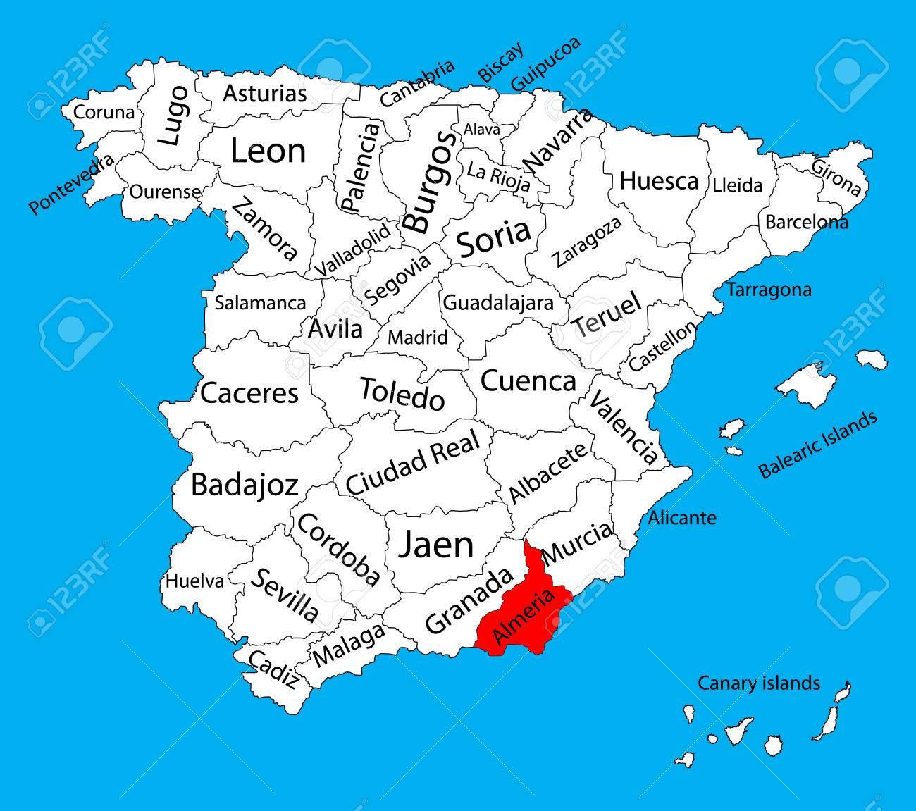 Map Of Spain Almeria.Almeria Map Spain Province Vector Map High Detailed Vector