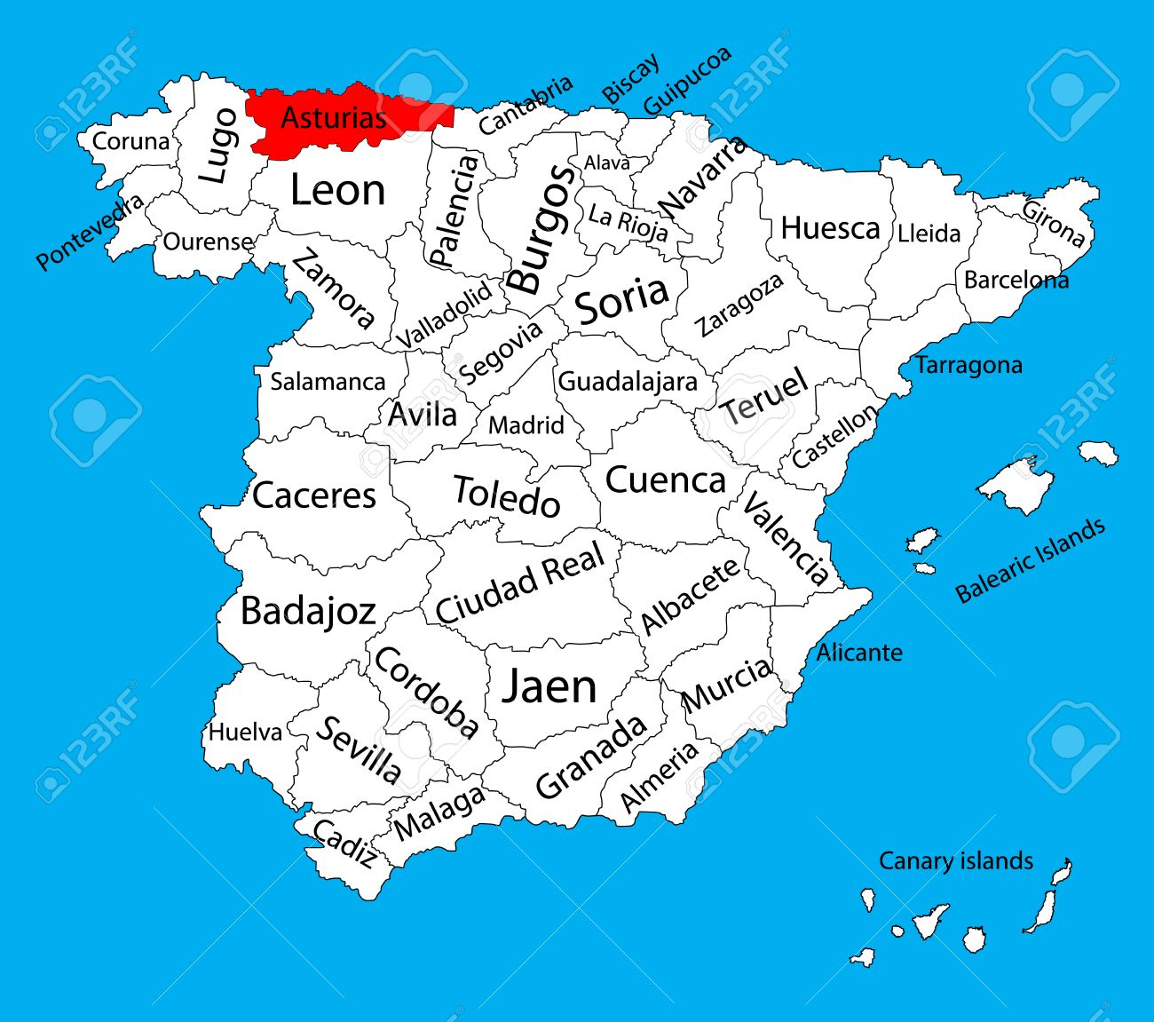 Asturias Map Spain Province Vector Map High Detailed Vector Map Of