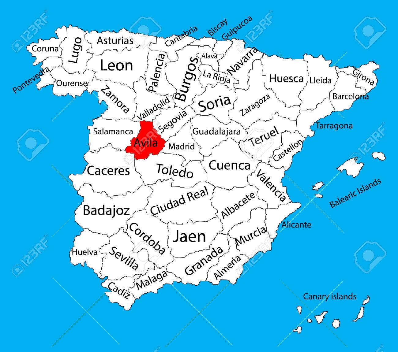 avila map spain province vector map high detailed vector map