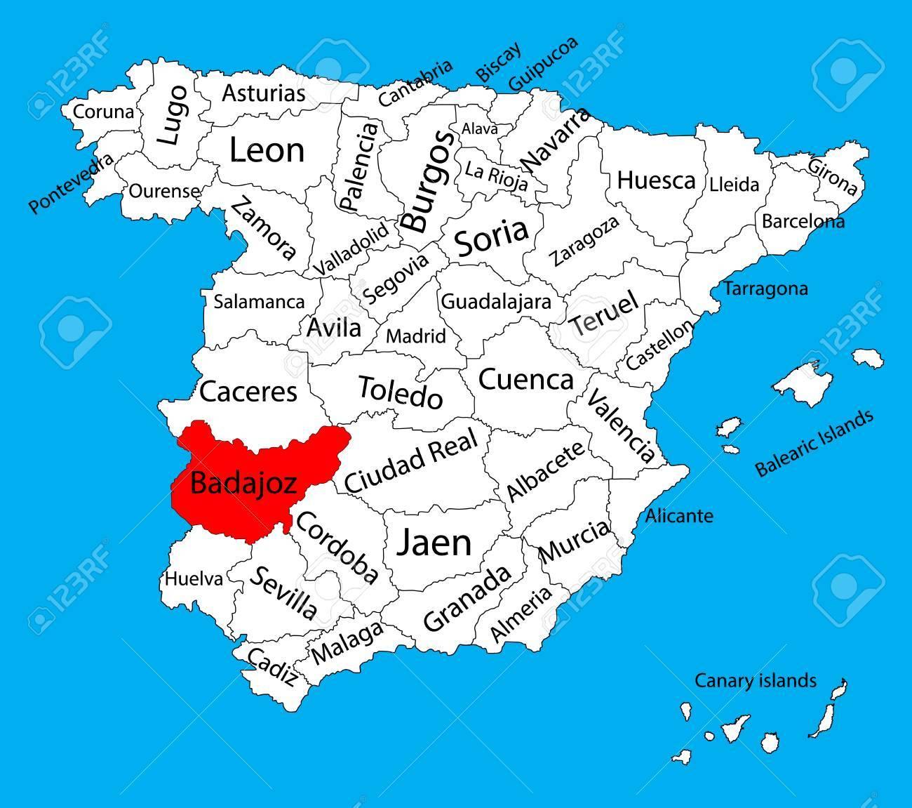 mapa badajoz espanha Badajoz, Badajos Map, Spain Province Vector Map. High Detailed  mapa badajoz espanha
