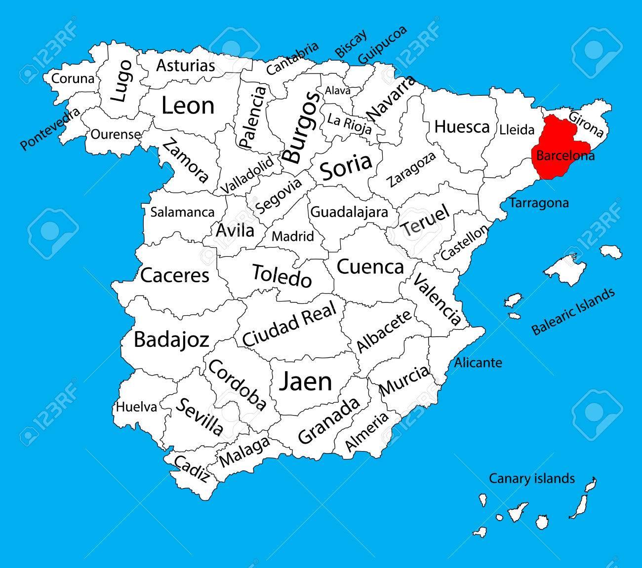 Barcelona En El Mapa.Mapa De Barcelona Mapa Vectorial De La Provincia De Espana Alto Mapa De Vectores Detallados De Espana Con Regiones Separadas Aisladas Sobre Fondo Mapa De Las Autonomias De Espana Mapa Vectorial Editable