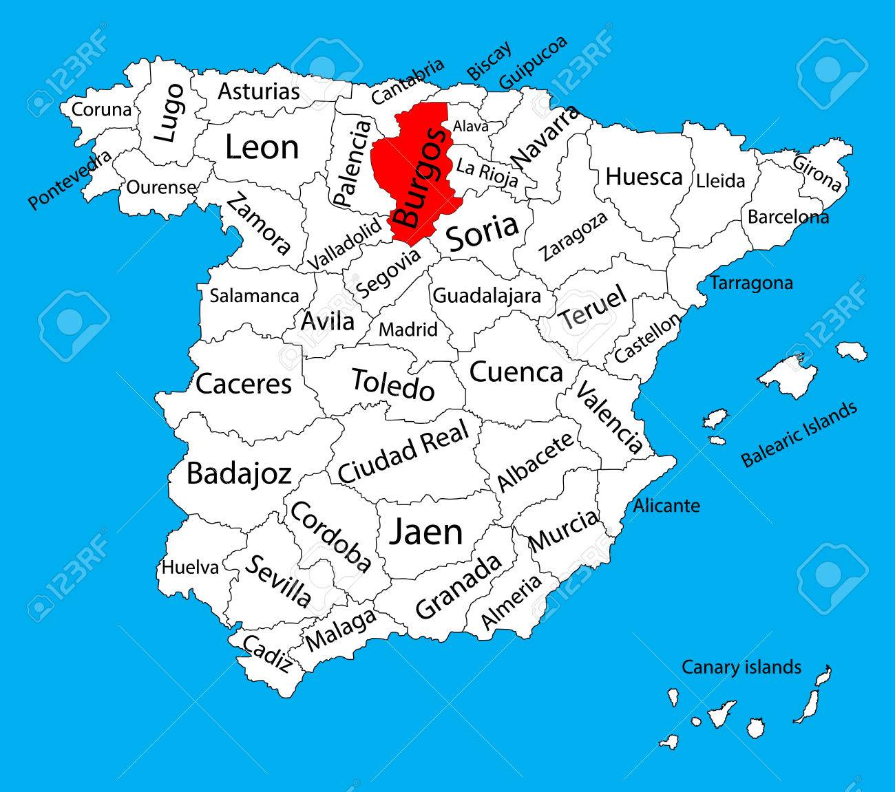 burgos map spain province vector map high detailed vector map of spain with separated