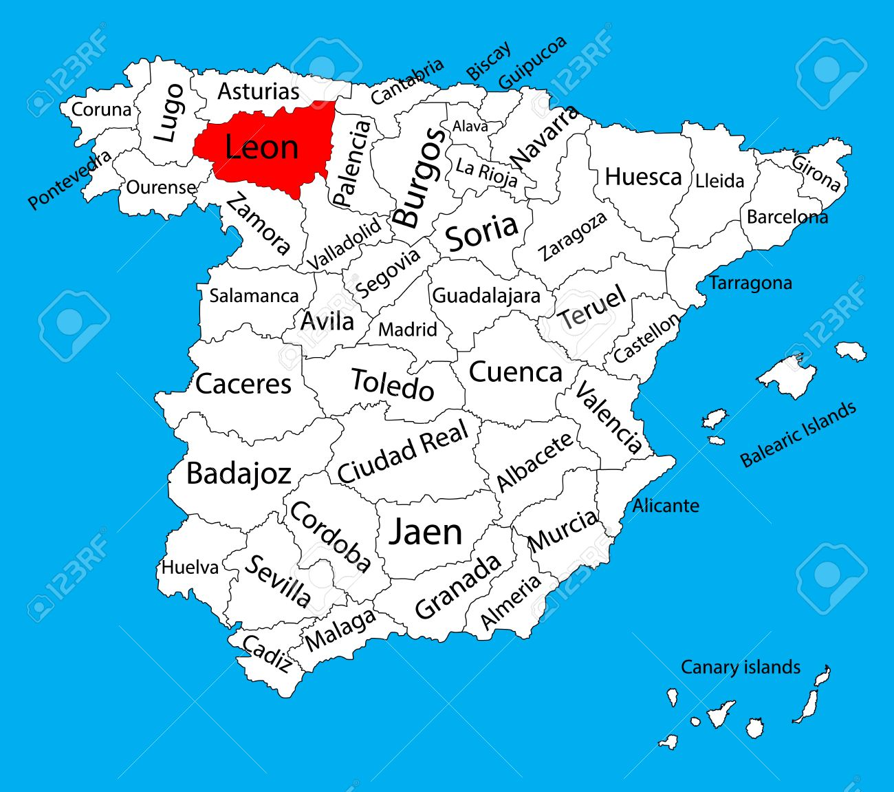 Leon Map Spain Province Vector Map High Detailed Vector Map