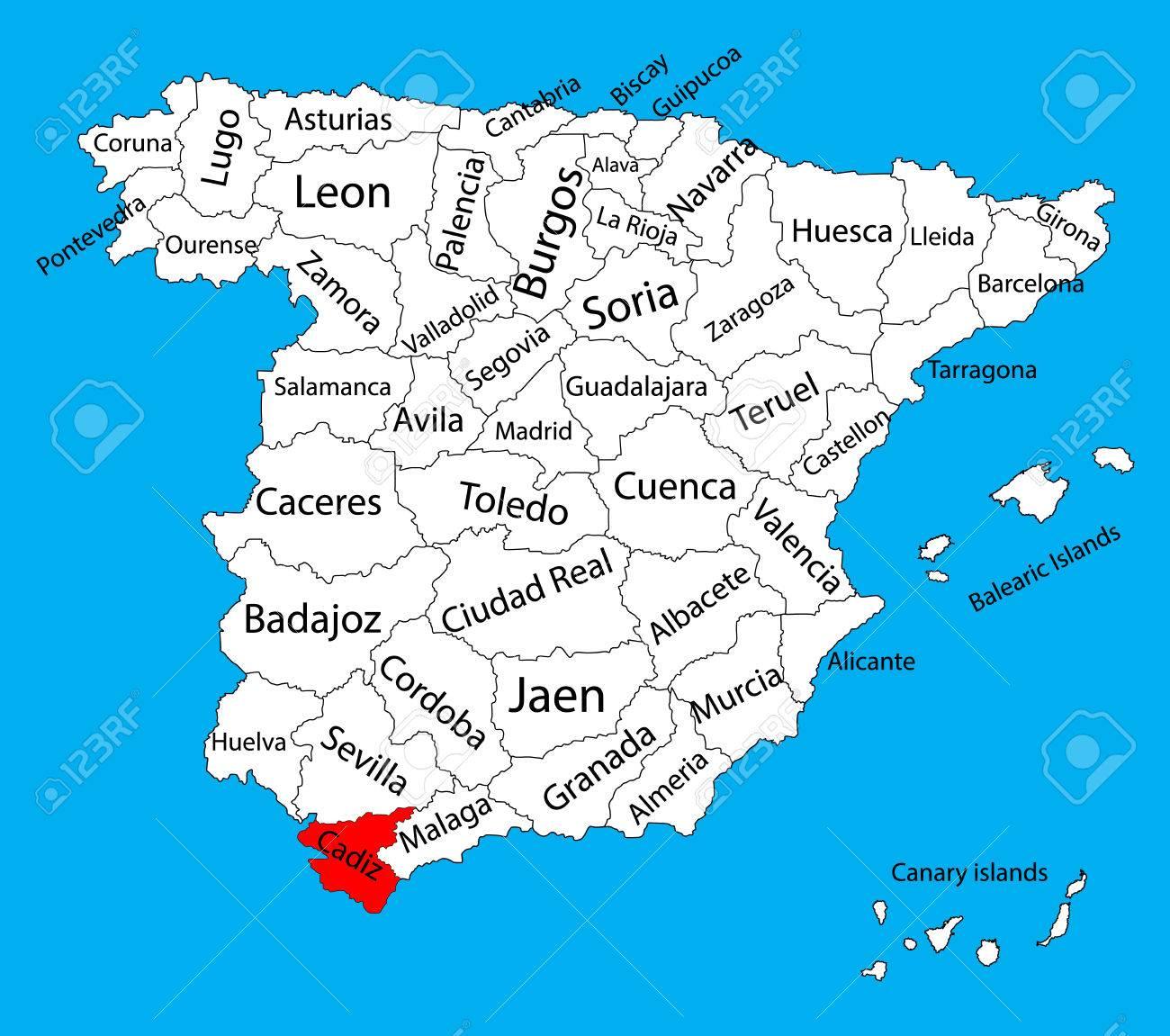 Cadiz Kaart Spanje Provincie Vector Kaart Hoge Gedetailleerde