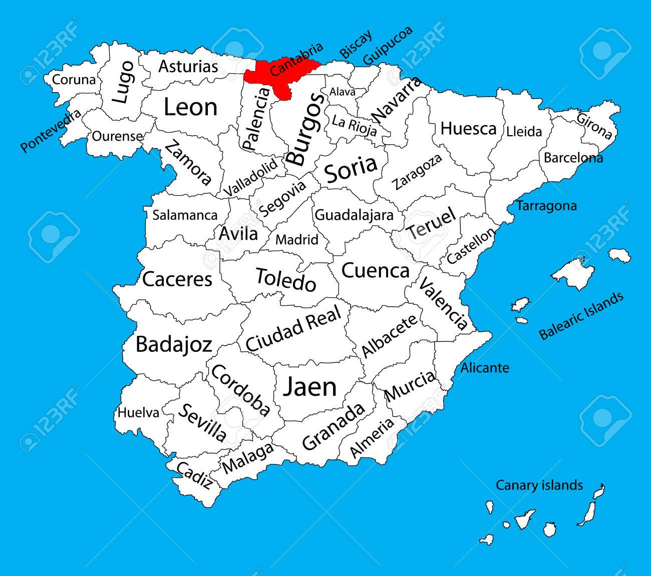 Cantabria Map Spain Province Vector Map High Detailed Vector Map