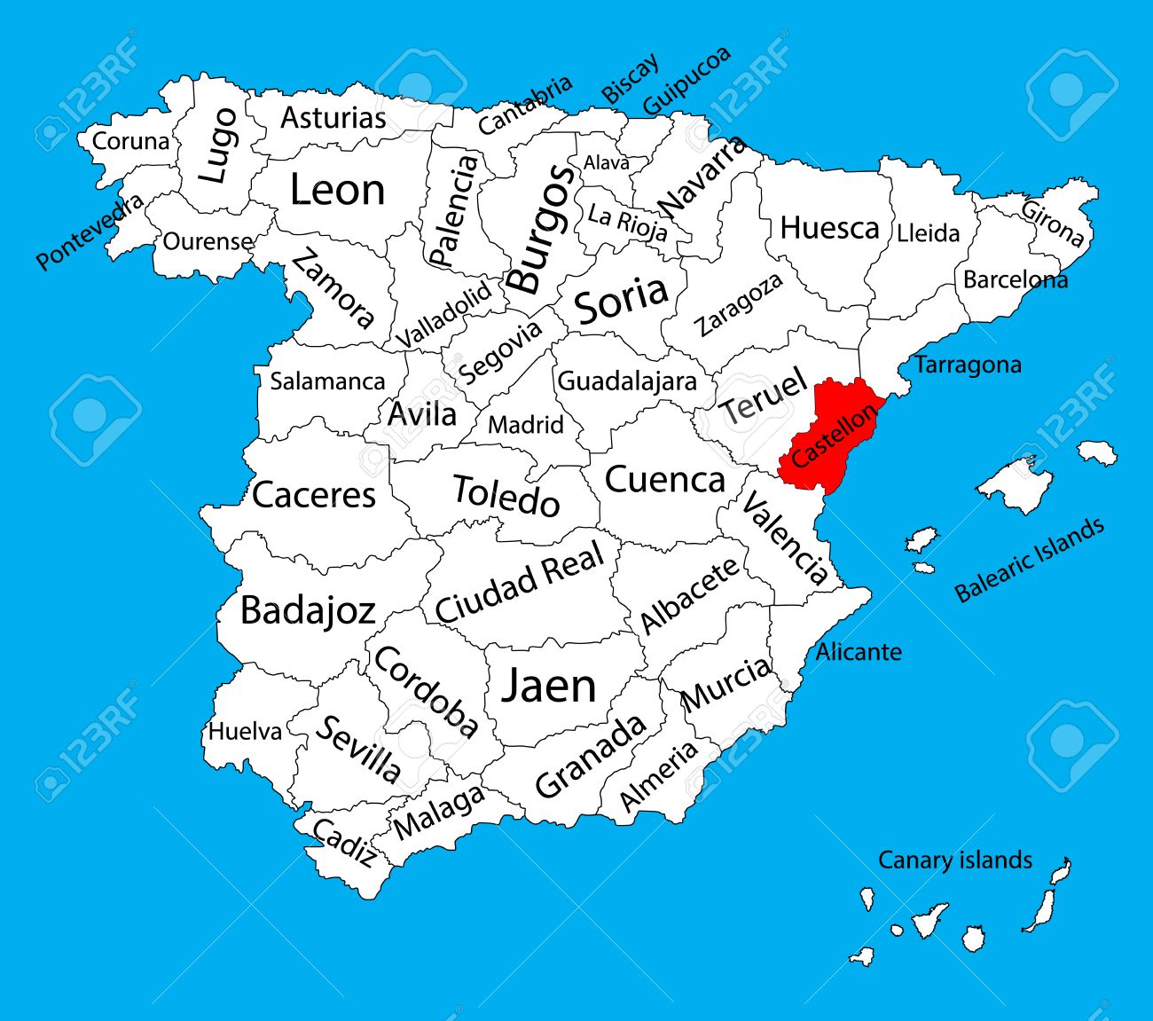 Castellon Map, Spain Province Vector Map. High Detailed Vector