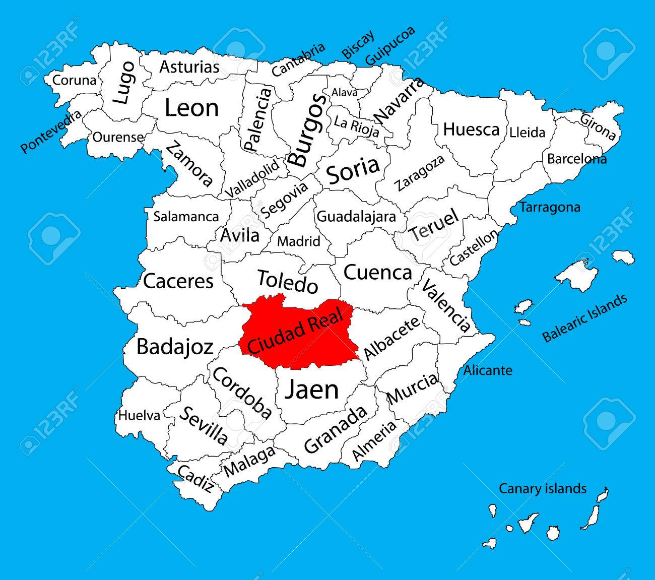 Ciudad Real Map Spain Province Vector Map High Detailed Vector