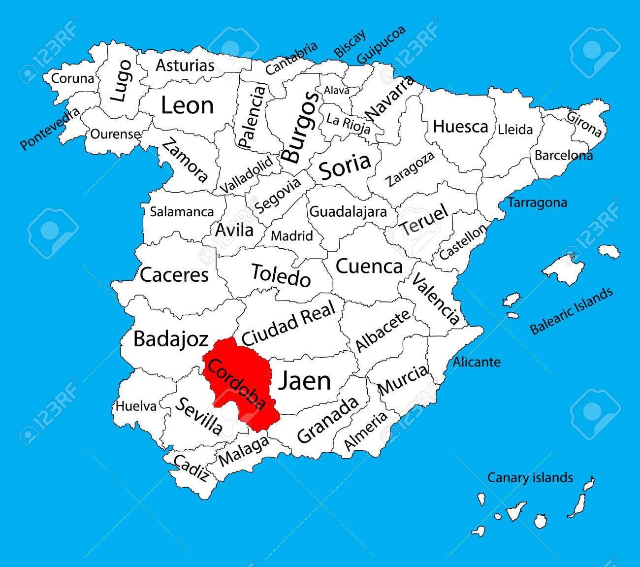 mapa cordoba espanha Cordoba Map, Spain Province Vector Map. High Detailed Vector Map  mapa cordoba espanha