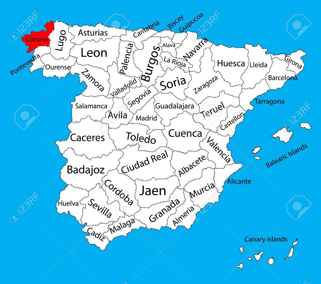 A Coruña Mapa España.La Coruna Map Spain Province Vector Map High Detailed Vector