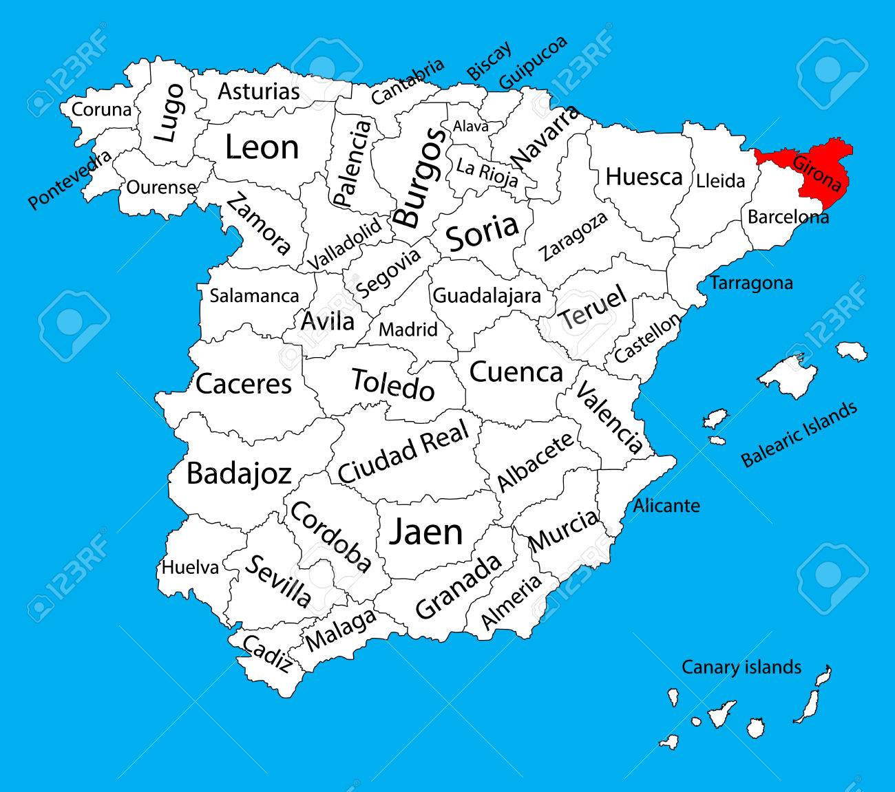 Gerona Map Spain Province Vector Map High Detailed Vector Map