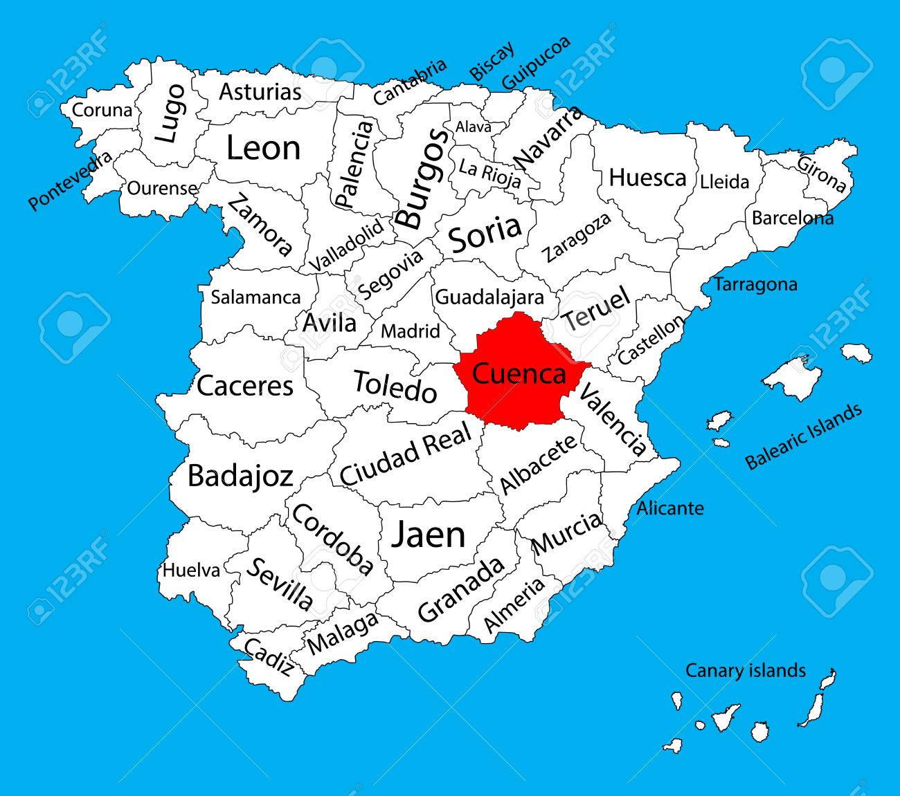 Cuenca Map Spain Province Vector Map High Detailed Vector Map
