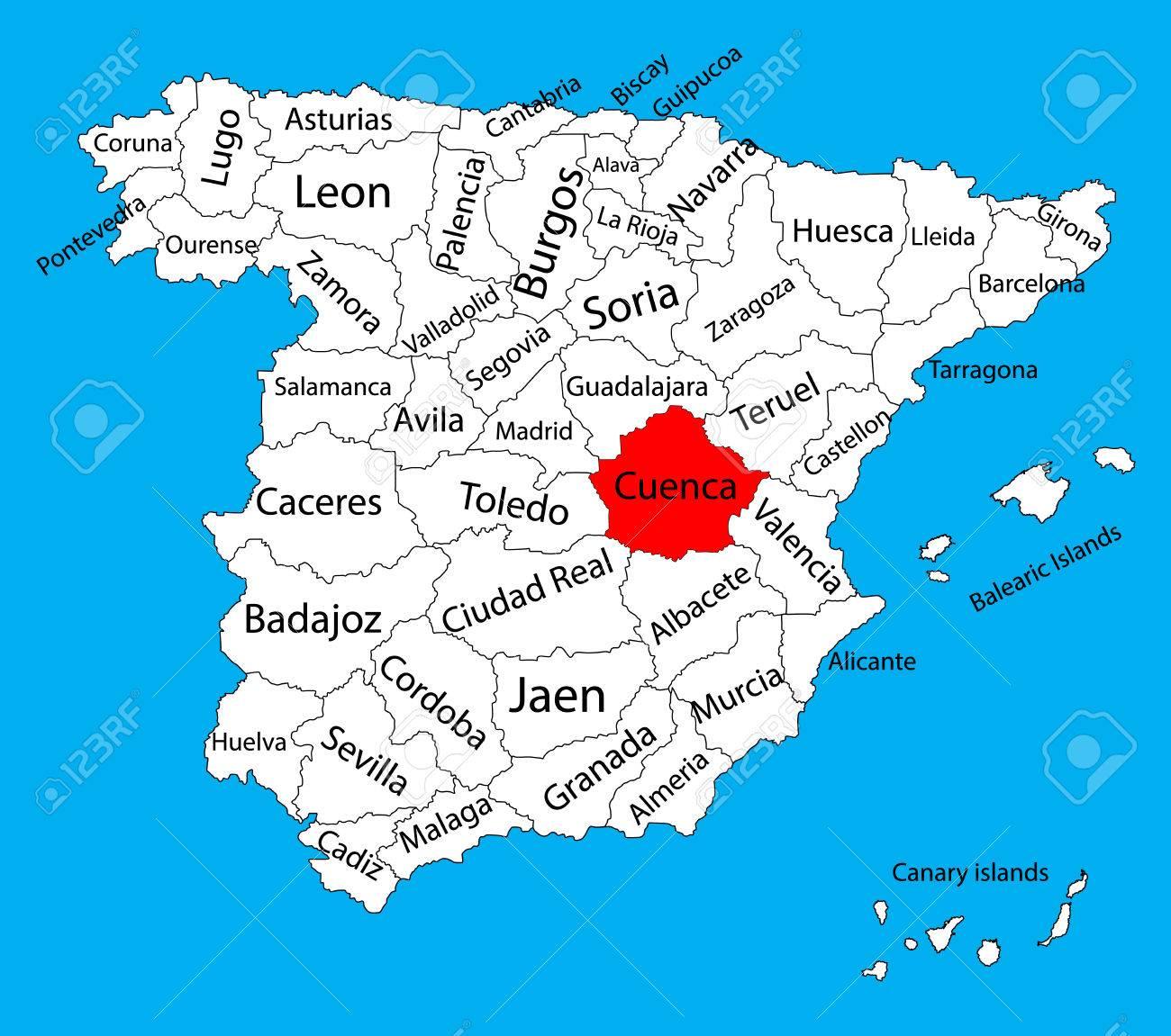 Mapa Provincia De Cuenca.Mapa De Cuenca Mapa Del Vector De La Provincia De Espana Mapa Del Vector Detallado Alto De Espana Con Regiones Separadas Aisladas En El Fondo Mapa De Areas De Autonomia De Espana