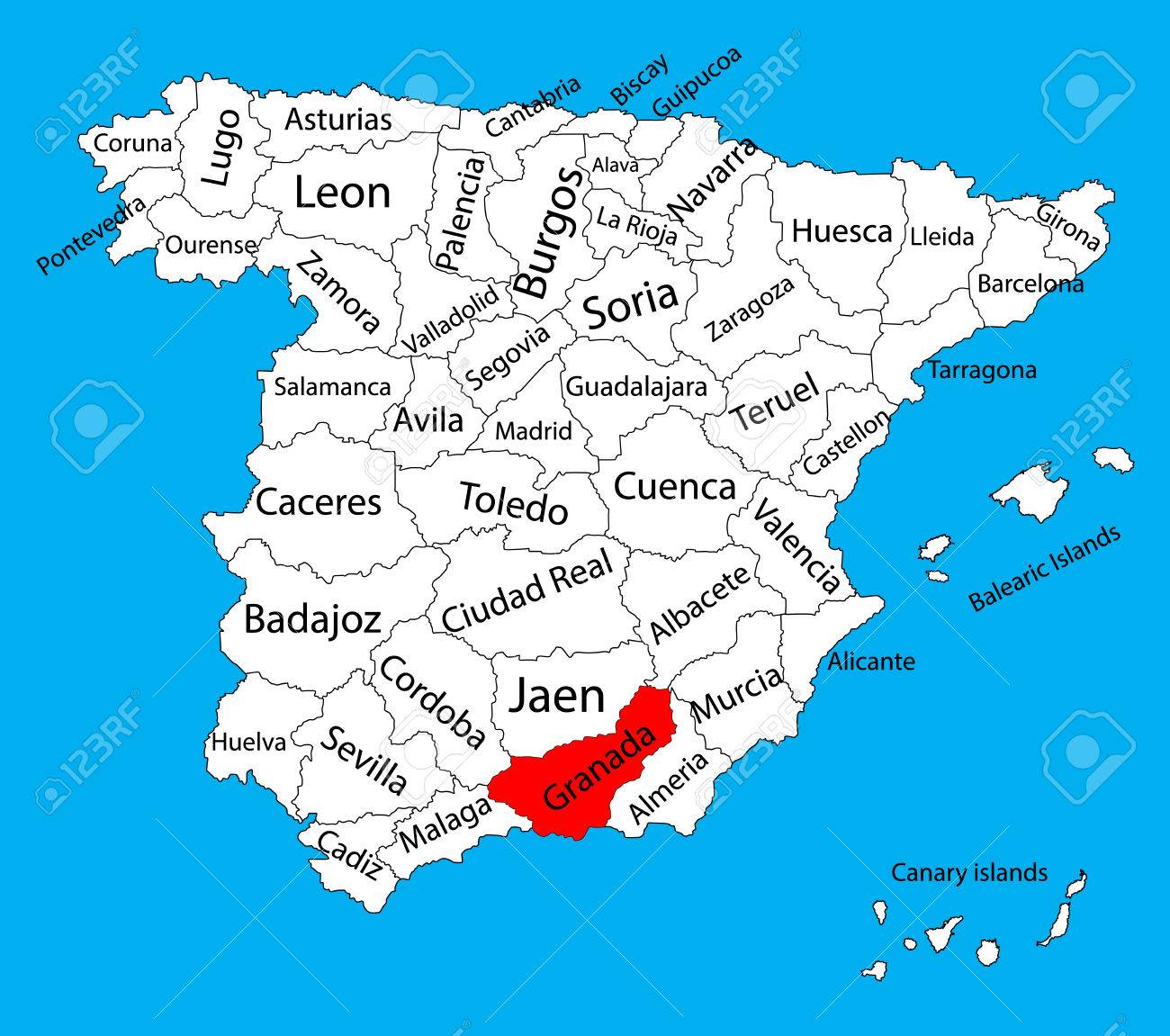 Granada Map, Spain Province Vector Map. High Detailed Vector ... on