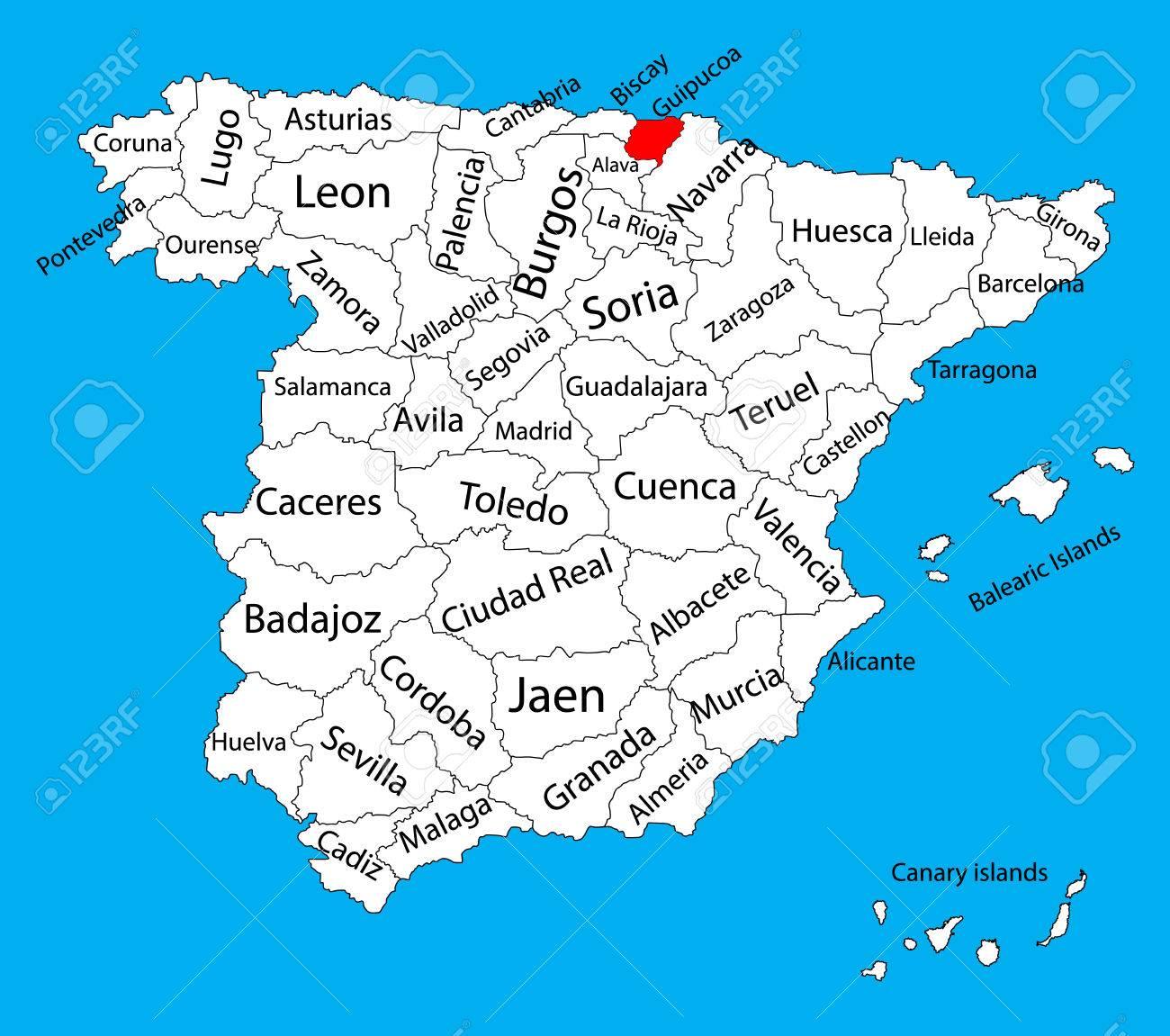 Mapa De Guipuzcoa Mapa Vectorial De La Provincia De Espana Alto