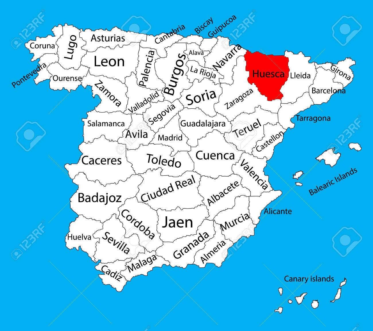 Map Of Spain Huesca.Huesca Map Spain Province Vector Map High Detailed Vector Map