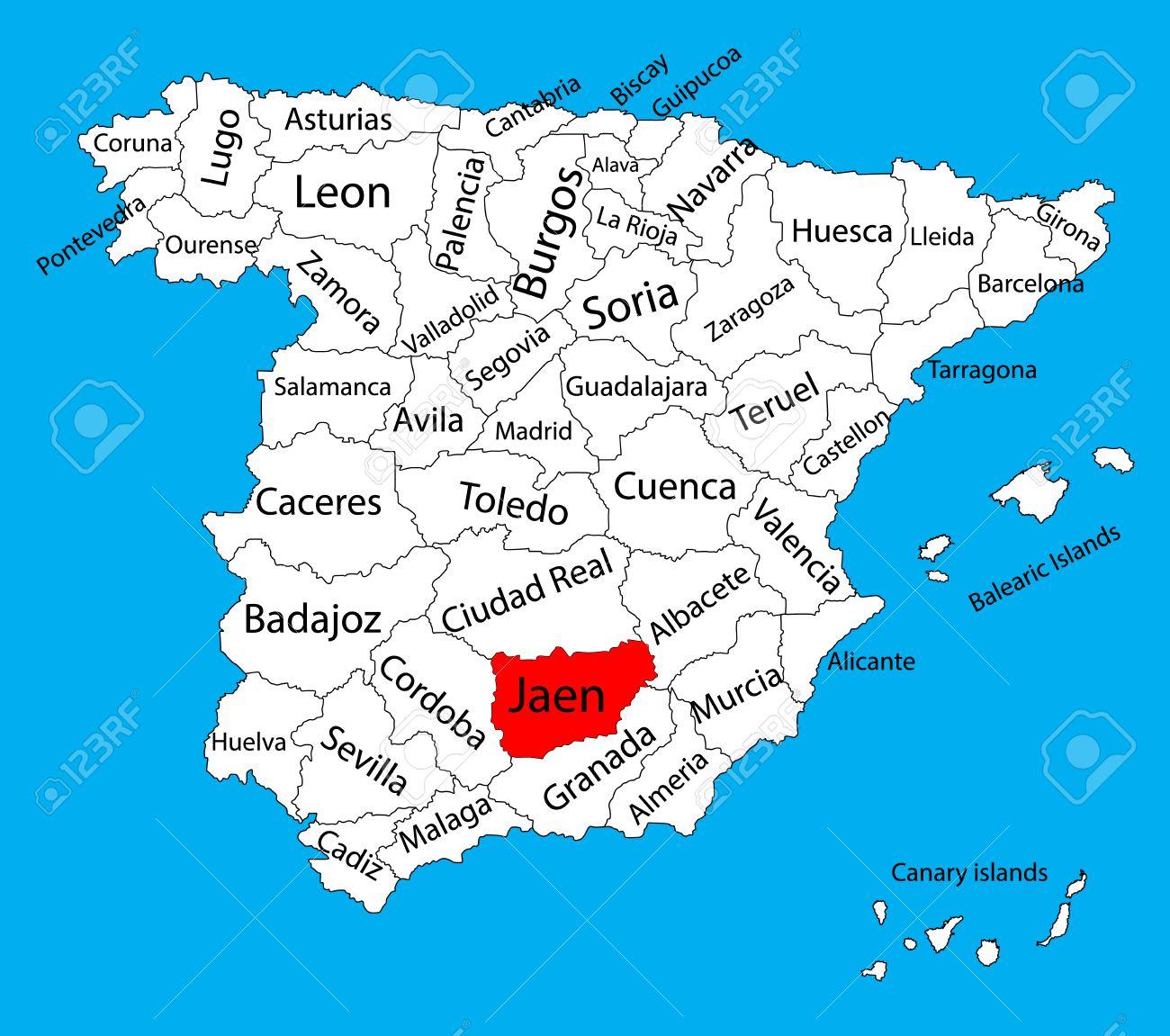Map Of Spain Jaen.Jaen Map Spain Province Vector Map High Detailed Vector Map