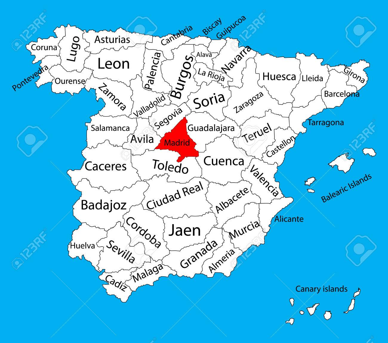Map Of Spain With Madrid.Madrid Map Spain Province Vector Map High Detailed Vector Map