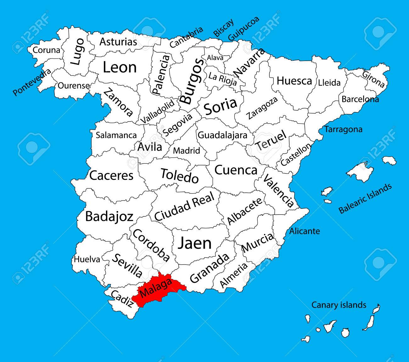 malaga map spain province vector map high detailed vector map of spain with separated