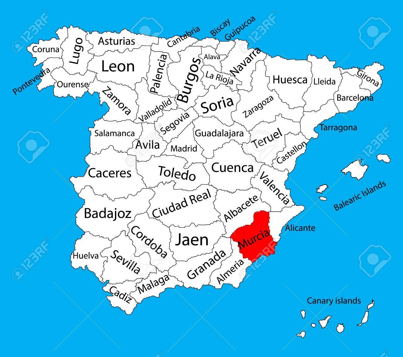 murcia mapa Mapa De Murcia, Mapa Vectorial De La Provincia De España. Alto  murcia mapa